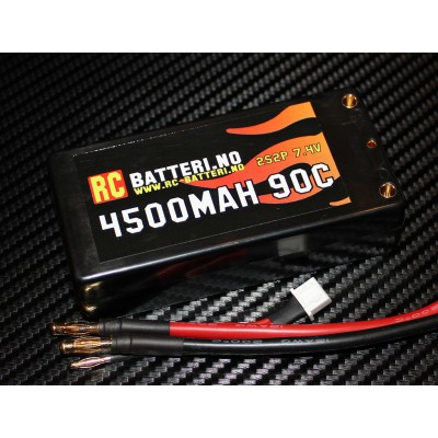 4500MAH 90C 2S2P 7.4V Short RC-Batteri.no
